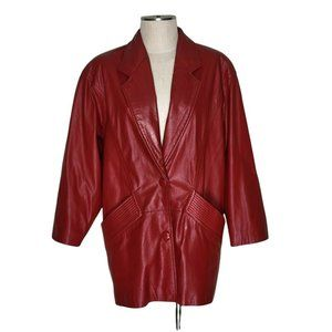 Global Identity G III G3 Vintage Leather Red Coat Women Size S Snap Closure